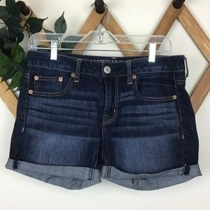 American Eagle Rolled Hem Dark Wash Jean Shorts